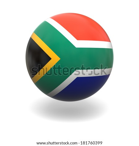 National flag of South Africa on sphere isolated on white background