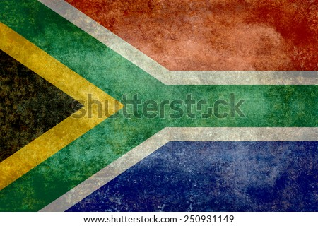 National flag of South Africa - Vintage version - stock photo