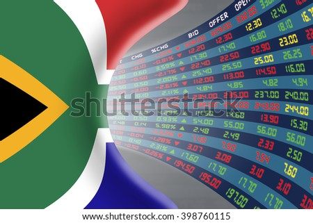 National flag of South Africa with a large display of daily stock market price and quotations during normal economic period. The fate and mystery of Cape Town stock market, tunnel / corridor concept. - stock photo