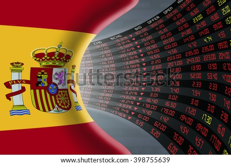 National flag of Spain with a large display of daily stock market price and quotations during depressed economic period. The fate and mystery of Madrid stock market, tunnel/corridor concept. - stock photo