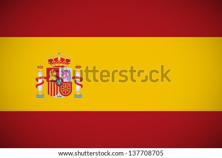 National flag of Spain with correct proportions (raster illustration) - stock photo