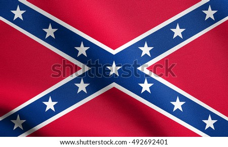 National flag of the Confederate States of America. Known as Confederate Battle, Rebel, Southern Cross, Dixie flag. Patriotic symbol, banner. Historical flag of the CSA waving, detailed fabric texture