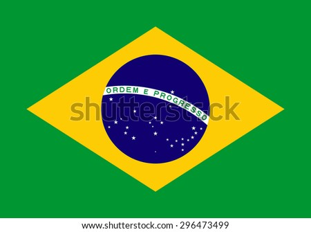 National flag of the Federative Republic of Brazil.