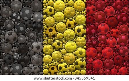 National Flag of the Kingdom of Belgium Soccer Balls Mosaic Illustration Design Concept Sport Background - stock photo