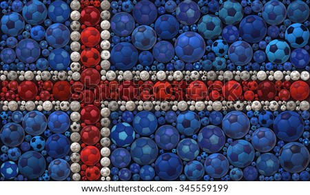 National Flag of the Republic of Iceland Soccer Balls Mosaic Illustration Design Concept  Sport Background - stock photo