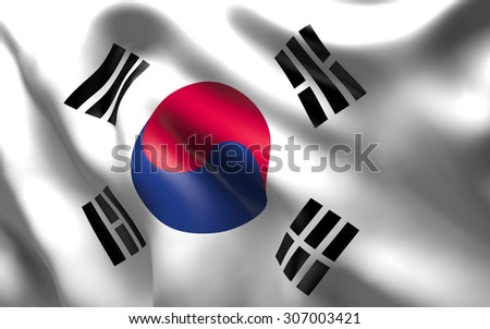 National Flag of the South Korea a country in East Asia, occupying the southern part of the peninsula of Korea  waving in the wind - stock photo