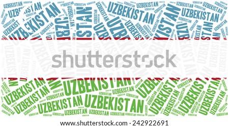 National flag of Uzbekistan. Word cloud illustration. - stock photo