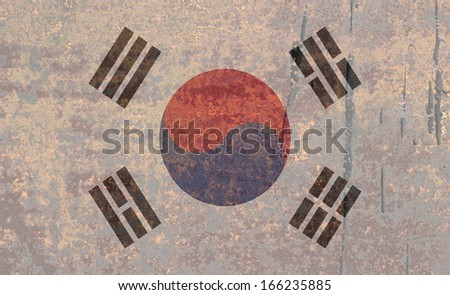 National flag on rusty background: South Korea - stock photo