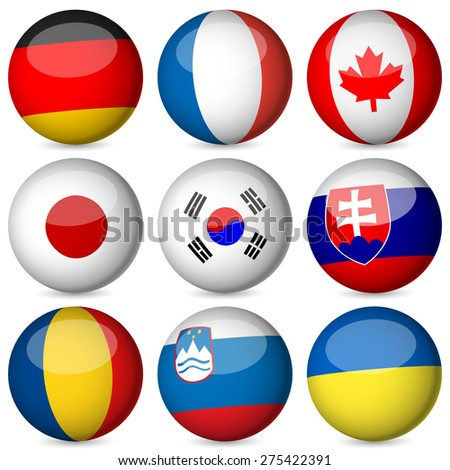 National flag orb set on a white background. - stock photo