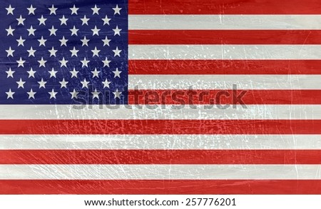National  flag USA on wood texture background - stock photo