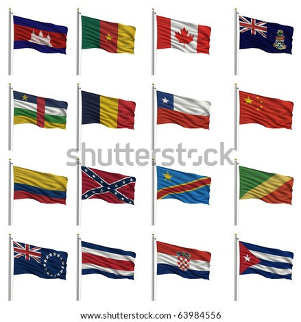 National flags - Cambodia, Cameroon, Canada, Cayman Islands, Central African Republic, Chad, Chile, China, Colombia, Confederate, Congo (Democratic Rep), Cook Islands, Costa Rica, Croatia, Cuba - stock photo