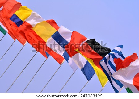 National flags in line