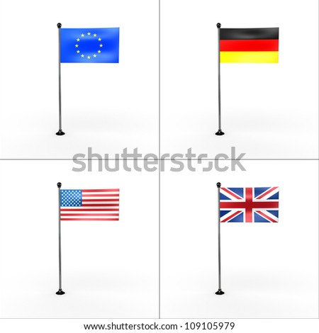national flags of europe, united states, united kingdom, germany.