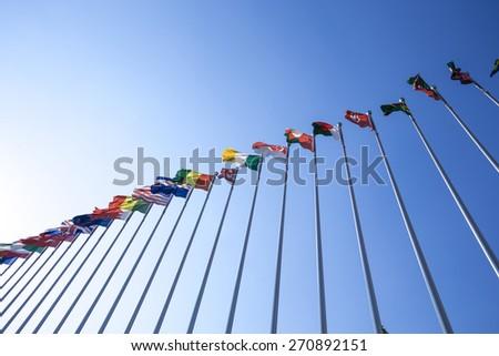 National flags waving - stock photo