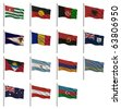 National flags with the letter A - Abkhazia, Aborigine, Afghanistan, Albania, American Samoa, Andorra, Angola, Anguilla, Antigua & Barbuda, Argentina, Armenia, Aruba, Australia, Austria, Azerbaijan - stock photo