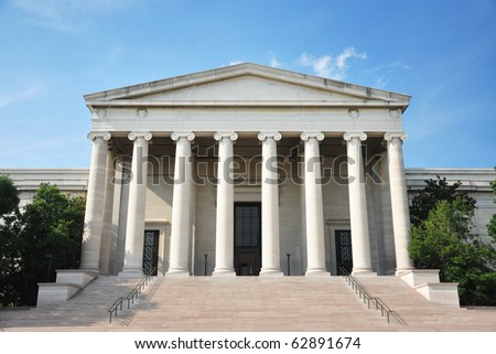 National Gallery of Art (west building) in Washington DC. - stock photo