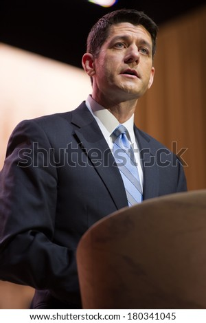 NATIONAL HARBOR, MD - MARCH 6, 2014: Congressman Paul Ryan (R-WI) speaks at the Conservative Political Action Conference (CPAC). - stock photo