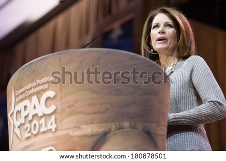 NATIONAL HARBOR, MD - MARCH 8, 2014: Congresswoman Michele Bachmann (R-MN) speaks at the Conservative Political Action Conference (CPAC). - stock photo