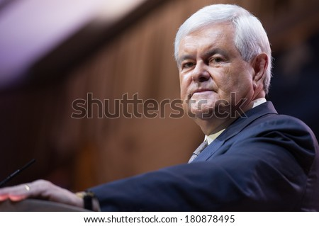 NATIONAL HARBOR, MD - MARCH 8, 2014: Former Presidential candidate and Speaker of the U.S. House of Representatives Newt Gingrich speaks at the Conservative Political Action Conference (CPAC). - stock photo