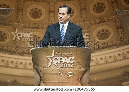NATIONAL HARBOR, MD - MARCH 7, 2014: Former U.S. Senator Rick Santorum speaks at the Conservative Political Action Conference (CPAC). - stock photo
