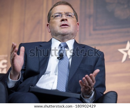 NATIONAL HARBOR, MD - MARCH 7, 2014: Grover Norquist, president of Americans for Tax Reform, speaks at the Conservative Political Action Conference (CPAC). - stock photo