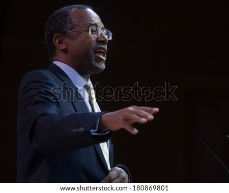 NATIONAL HARBOR, MD - MARCH 8, 2014: Neurosurgeon and author Ben Carson speaks at the Conservative Political Action Conference (CPAC). - stock photo