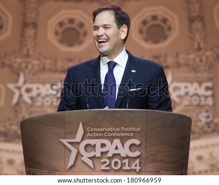 NATIONAL HARBOR, MD - MARCH 6, 2014: Senator Marco Rubio (R-FL) speaks at the Conservative Political Action Conference (CPAC). - stock photo