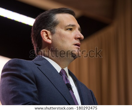NATIONAL HARBOR, MD - MARCH 6, 2014: Senator Ted Cruz (R-TX) speaks at the Conservative Political Action Conference (CPAC). - stock photo