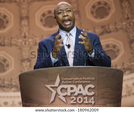 NATIONAL HARBOR, MD - MARCH 6, 2014: Senator Tim Scott (R-SC) speaks at the Conservative Political Action Conference (CPAC). - stock photo
