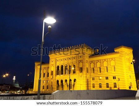 National Library at night, Sarajevo, Bosnia and Herzegovina