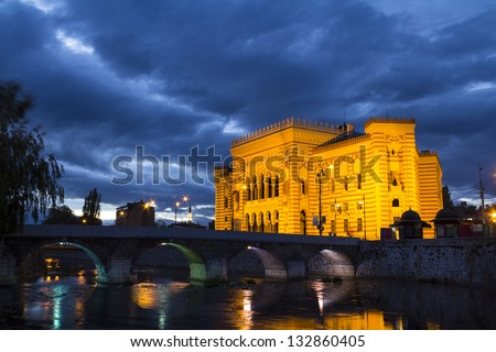 National library, Sarajevo, capital city of Bosnia and Herzegovina, at night - stock photo
