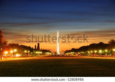 National mall illuminated at night, Washington DC. - stock photo