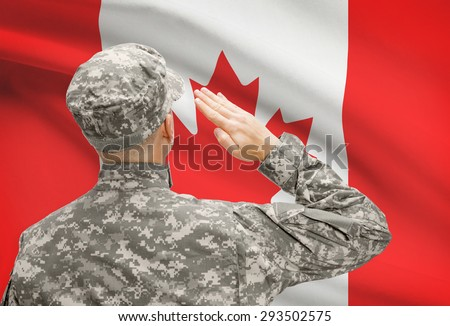 National military forces with flag on background conceptual series - Canada - stock photo