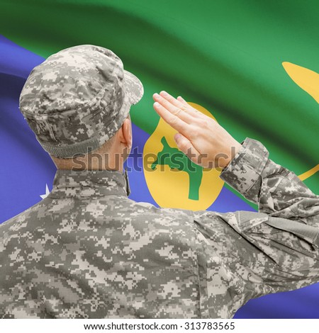 National military forces with flag on background conceptual series - Christmas Island - stock photo
