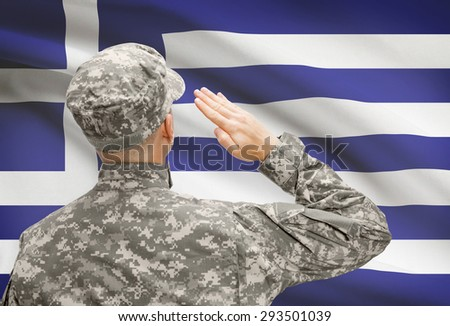 National military forces with flag on background conceptual series - Greece - stock photo