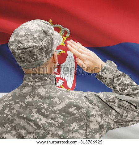 National military forces with flag on background conceptual series - Serbia - stock photo