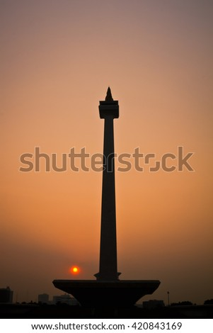 National Monument at Jakarta Indonesia - stock photo