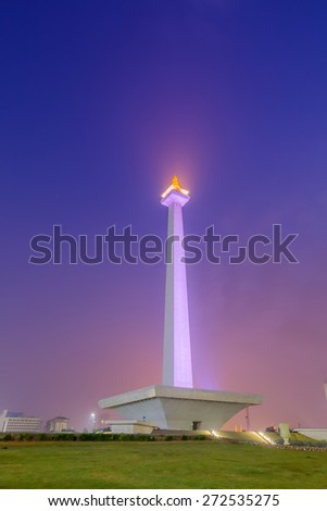 National Monument at Jakarta Indonesia during sunrise - stock photo