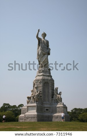 National Monument to the Forefathers in Plymouth, Massachusetts, erected by the Pilgrim Society in 1889 - stock photo