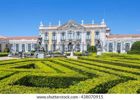 NATIONAL PALACE IN  QUELUZ PORTUGAL - APRIL 24, 2016: One of the last great Rococo buildings to be designed in Europe.