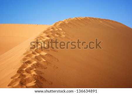 National park Altyn Emel. Kazakhstan. Footpath on the top of a sand dune - stock photo