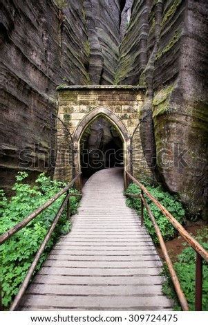 National Park of Adrspach-Teplice rocks. Rock Town. Czech Republic - stock photo