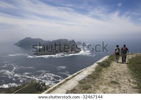 National Park of Atlantic Islands in the northwest of Spain. Cies Islands - stock photo