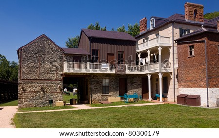 National Park Service owns and operates the historic Civil War town of Harpers Ferry - stock photo