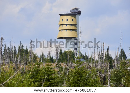 National Park Sumava, Czech Republic - AUGUST 28, 2016 - Polednik viewing tower, Meridian hill, the Bohemian Forest. Forests around the destroyed during the storm Kyrill.
