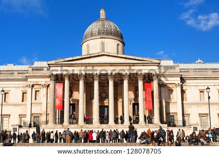 National portrait gallery and Trafalgar Square - stock photo