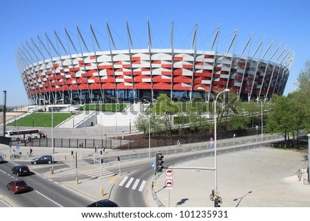 NATIONAL STADIUM IN WARSAW, POLAND - APRIL 28: Warsaw National Stadium on April 28, 2012. The National Stadium will host the opening match of the UEFA Euro 2012. - stock photo