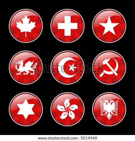 National Symbols Buttons (high res jpeg) - stock photo
