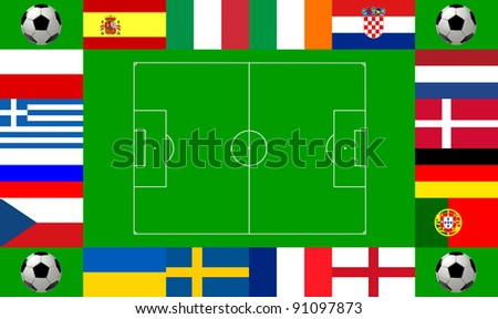 National team flags European football championship 2012. Flags from all 16 participating countries, sorted round an illustration of a soccer field according to groups - stock photo