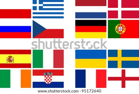 National team flags European football championship 2012. Flags from all 16 participating countries, sorted according to groups - stock photo